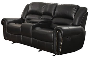 Homelegance 9668BLK-2 Double Glider Reclining Loveseat with Center Console, Black Bonded Leather